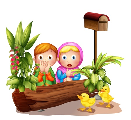 suprise: Illustration of the two girls and the ducklings near the mailbox on a white background