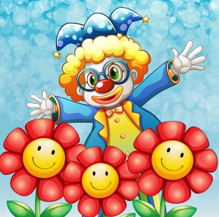wig: Illustration of a clown at the back of the three lovely flowers Illustration