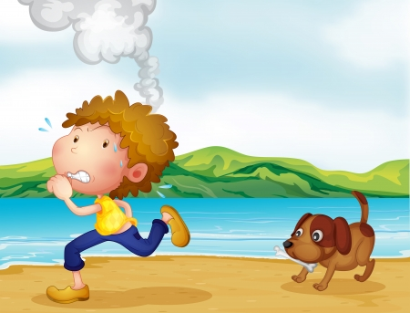 cartoon volcano: Illustration of a boy running with his dog