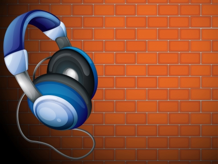 bluetooth headset: Illustration of a headset beside the wall Illustration