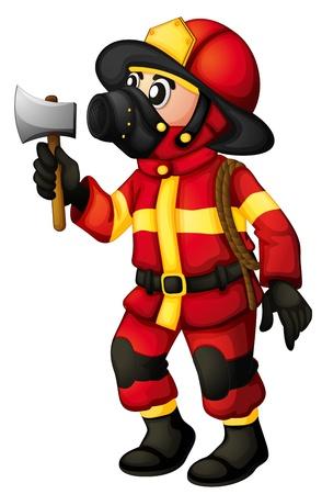 servicios publicos: Ilustraci�n de un bombero que sostiene un hacha sobre un fondo blanco