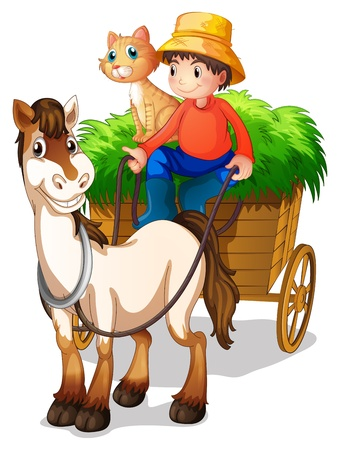 wooden horse: Illustration of a young boy with a horse and a cat on a white background