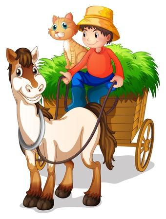 carriage: Illustrazione di un ragazzo con un cavallo e un gatto su uno sfondo bianco