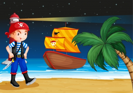 pirate boat: Illustration of a pirate near the seashore with a pirate boat