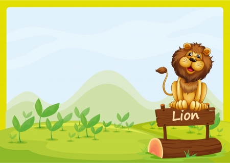 Illustration of a lion at the top of a wooden signboard Vector