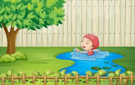 Illustration of a girl swimming inside the fence Vector