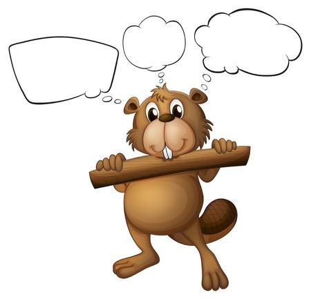 nutria caricatura: Ilustración de un castor con un pedazo de madera con llamadas vacías sobre un fondo blanco