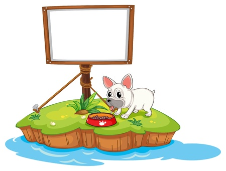 Illustration of a dog and the empty framed signage on a white background Stock Vector - 18323595