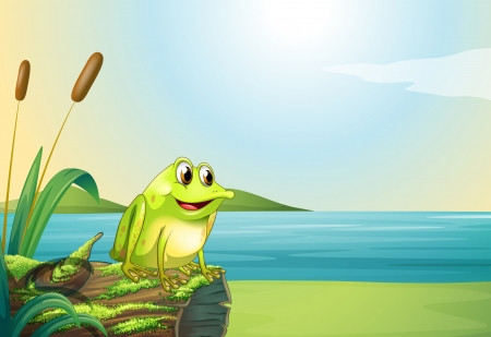 Illustration of a frog above a trunk at the riverbank Vector