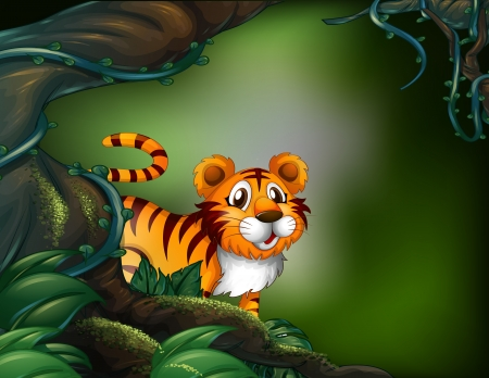 Illustration of a rainforest with a tiger Vector