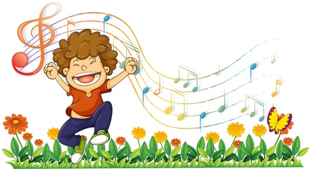 Illustration of a boy singing out loud with musical notes on a white background Vector