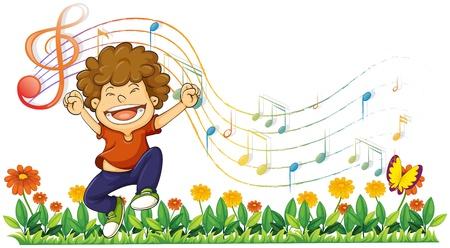 ni�o cantando: Ilustraci�n de un muchacho cantando en voz alta con notas musicales sobre un fondo blanco Vectores