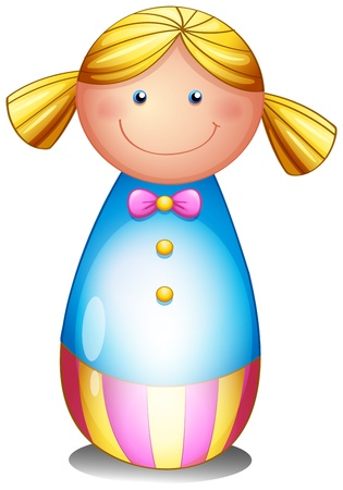 wooden doll: Illustration of a colorful doll on a white background