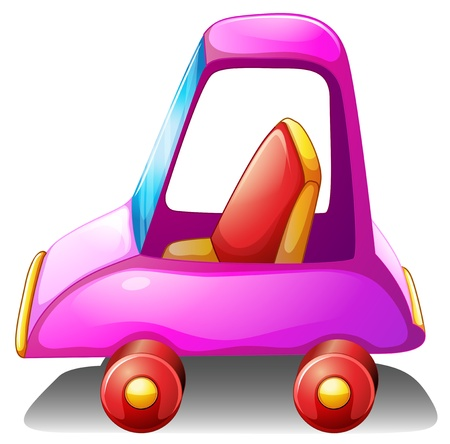 Illustration of a pink toy car on a white background Vector