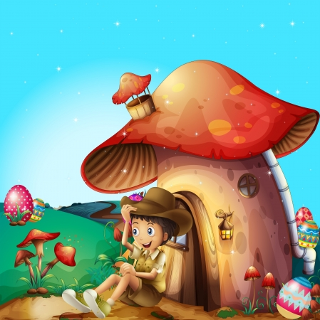 Illustration of a boy at his mushroom house