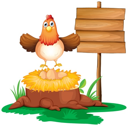 chicken farm: Illustration of a chicken with a nest above a trunk near a signage on a white background