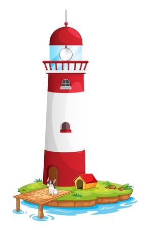 Illustration of a dog in the lighthouse on a white background Vector