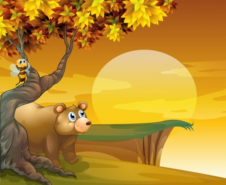 morning night: Illustration of a big brown bear looking at the sunset