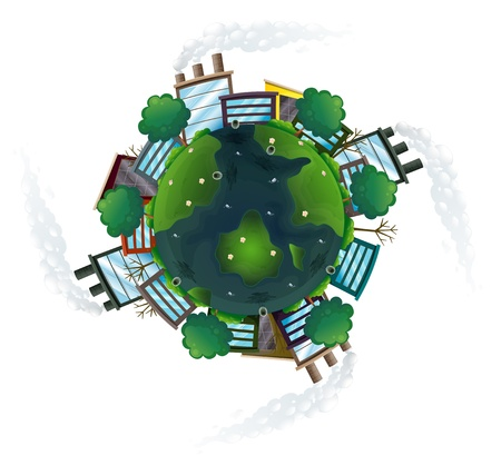 establishments: Illustration of an aerial view of the planet earth on a white background