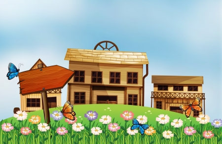 western town: Illustration of a butterfly at the top of the wooden arrow Illustration