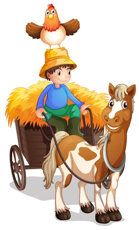 Illustration of a farmer riding a cart with a chicken above his head  on a white background