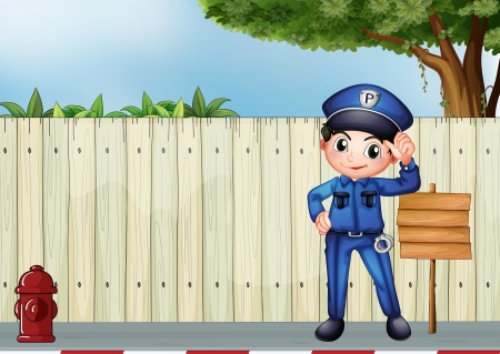 Illustration of a police officer beside an empty wooden signage Vector