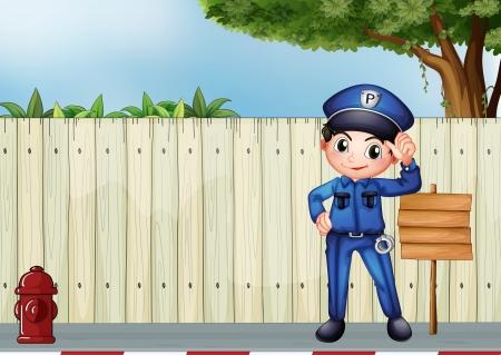 servicios publicos: Ilustración de un policía al lado de una señalización de madera vacía