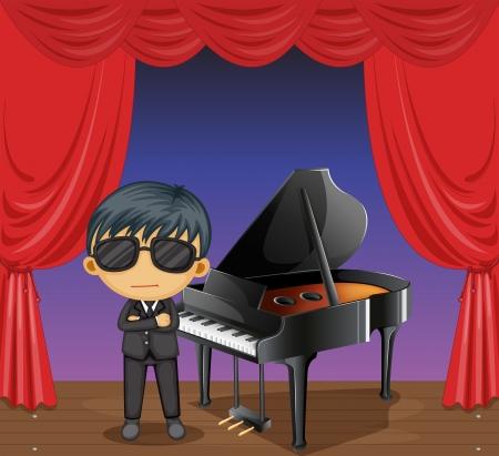 Illustrazione di un pianoforte con un pianista