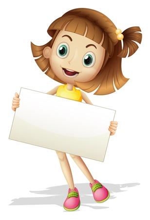 ni�os sosteniendo un cartel: Ilustraci�n de una chica con un cart�n sobre un fondo blanco