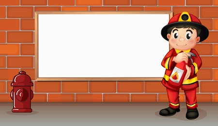 fire extinguisher sign: Illustration of a fireman with a fire extinguisher in front of an empty board
