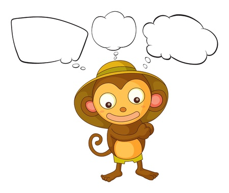 Illustration of a little monkey with empty callout on a white background Stock Vector - 18323505