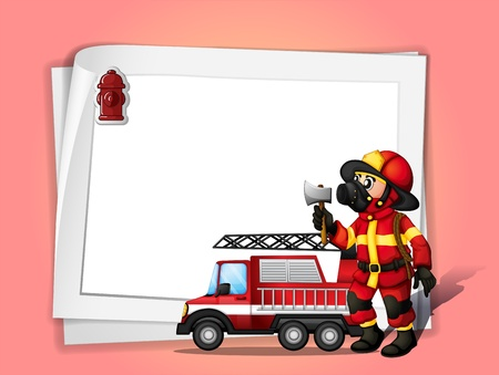 Illustration of a fireman holding an ax beside his fire truck with a white blank paper Vector