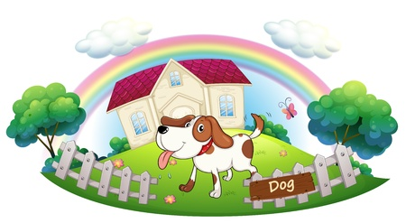 guarding: Illustration of a dog guarding a house on a white background