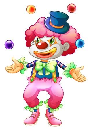 Illustration d'un clown avec ses balles sur un fond blanc