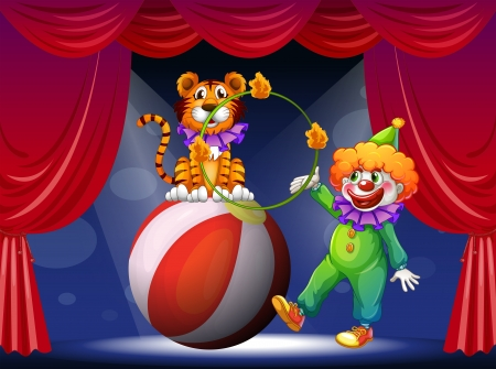 Illustration of a tiger and a clown performing at the stage Vector