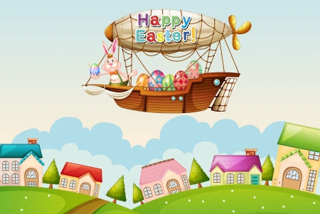 Illustration of an airship above the hills with an easter greeting Vector