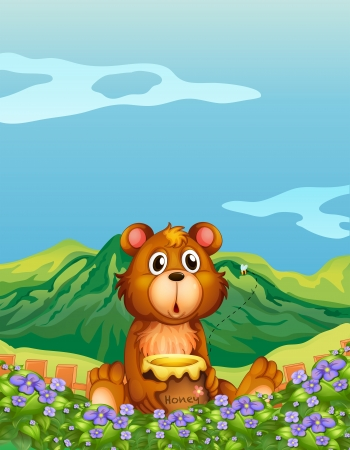 Illustration of a bear at the flower plantation Vector