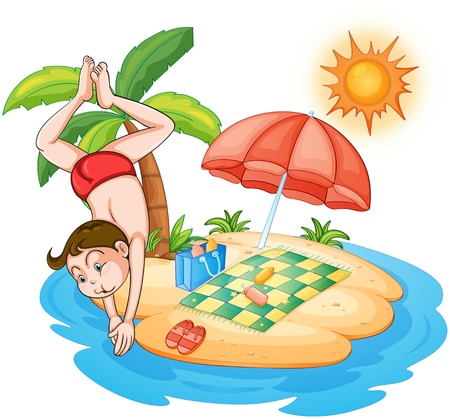 Illustration of a boy diving at the  beach on a white background Illustration
