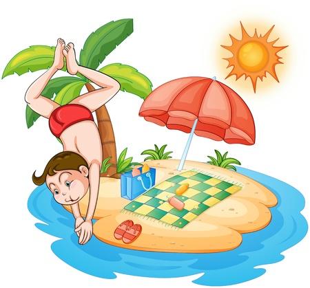 sun lotion: Ilustraci�n de un muchacho de buceo en la playa en un fondo blanco