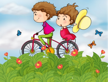 animal lover: Illustration of a bike with a girl and a boy Illustration