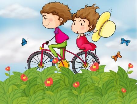 enamorados caricatura: Ilustración de una moto con una chica y un chico
