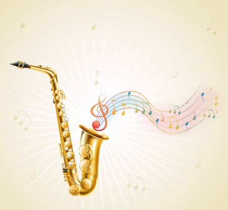Illustration of a saxophone with musical notes on a white background Vector