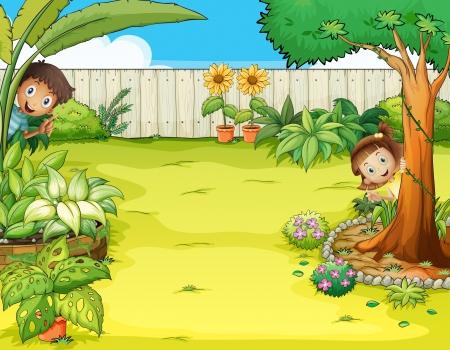 Illustratie van een jongen en een meisje verbergen in de tuin