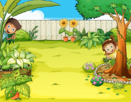 back yard: Ilustraci�n de un ni�o y una ni�a escondite en el jard�n