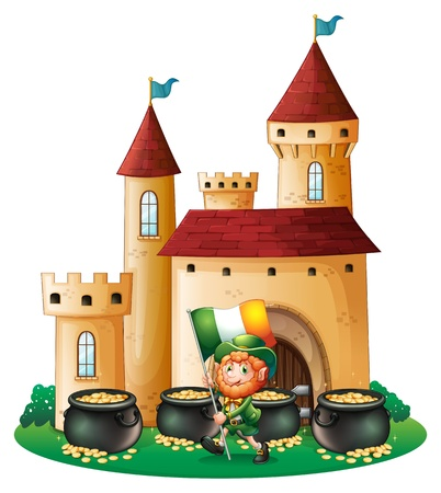 Illustration of a man with the flag of Ireland in front of a castle on a white background Stock Vector - 18324158