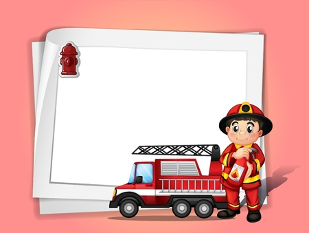 Illustration of a fireman holding a fire extinguisher beside his fire truck in front of a white blank paper Vector