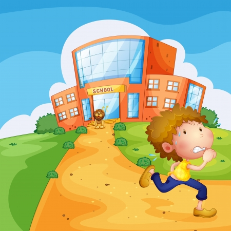 Illustration of a boy running and a lion near the school Vector