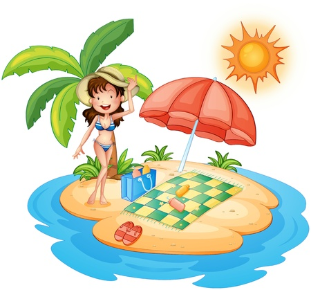 Illustration of a girl at the beach under the scorching heat of the sun on a white background Illustration