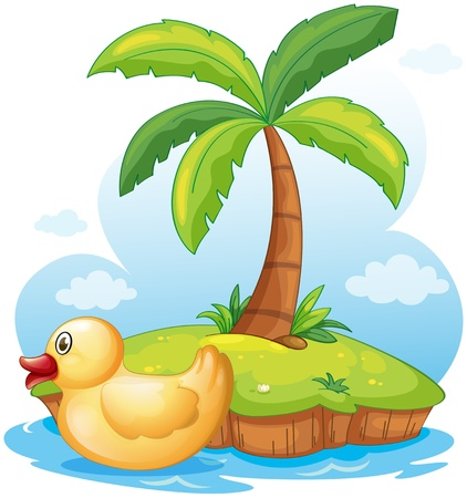 Illustration of a yellow toy duck in an island on a white background Illustration