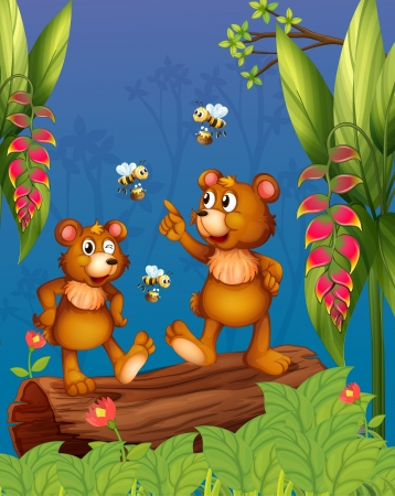 Illustration of the bees and bear at the forest Stock Vector - 18324066